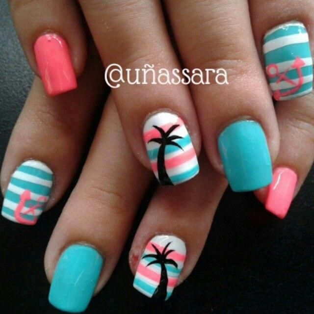 Pin By Brittany On Light Pink In 2020 Beach Nail Designs Beach Nails Cruise Nails