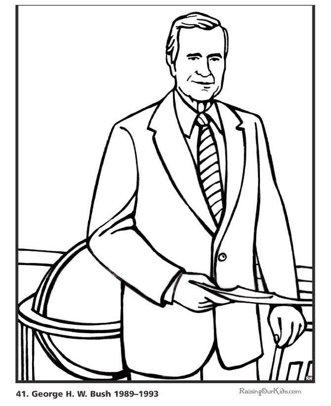 Free Printable President George H.W. Bush Coloring Pages