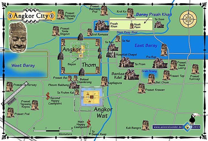Angkor Wat Karte.Angkor Wat Cambodia Map