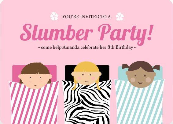 Pink Sleeping Bag Slumber Party Invitation
