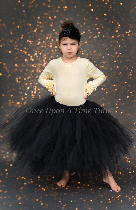 Buy Long Black Tutu Skirt Infant Girl Toddler Little Girls Teen Adult Witch Costume At Online Store
