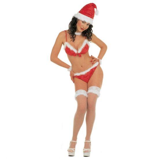 Kerst bikini. Rode kerstvrouw bikini met witte pluche omranding. Deze kerst bikini is inclusief kerstmuts, kousenbanden, pluche polsbandjes en pluche nekband. Deze kerst bikini is een one size artikel.