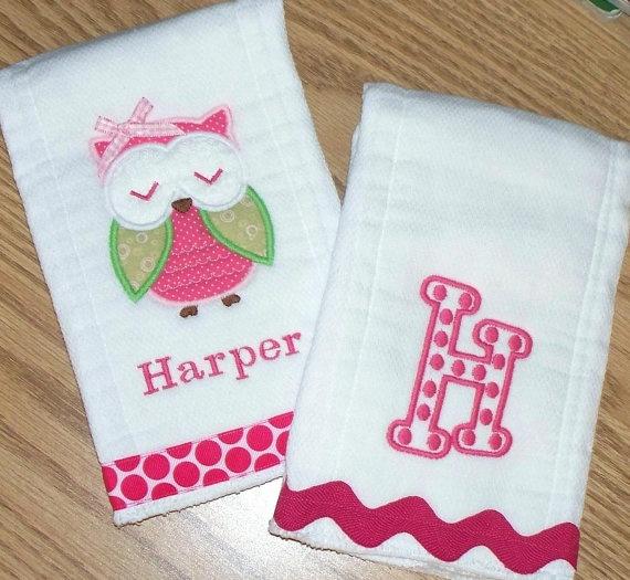 Owl Monogrammed Baby Girl Burp Cloth Set by