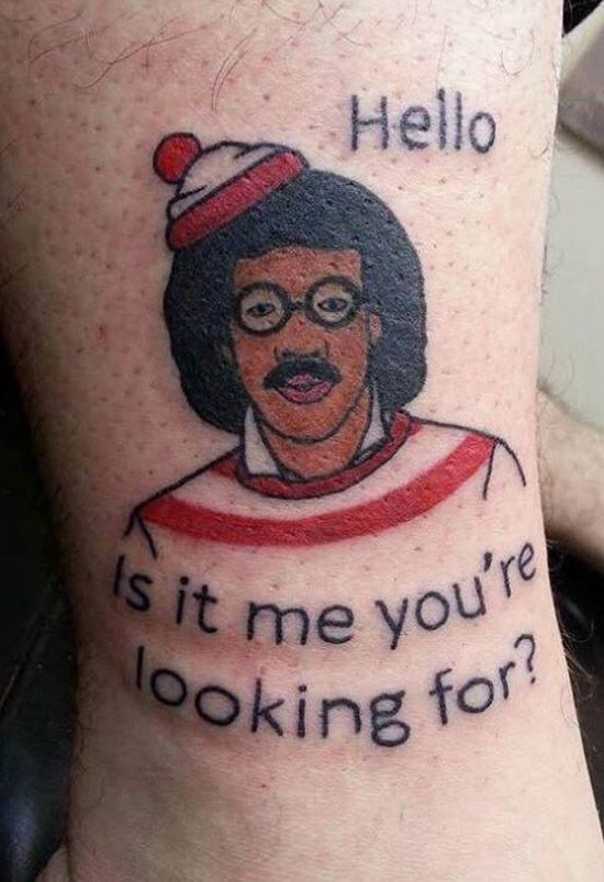 where's waldo tattoo - or is it Lionel Ritchie Tattoo?? ;)