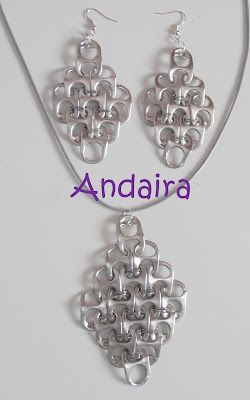 """Dont you think its amazing what can be made from recycled materials? I DO """"con  lacres, conjunto de colgante y pendientes"""""""
