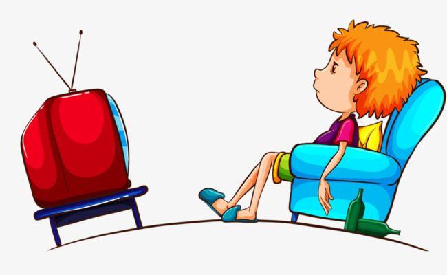 Watch Tv Cartoon Boy Cartoon Children Illustration