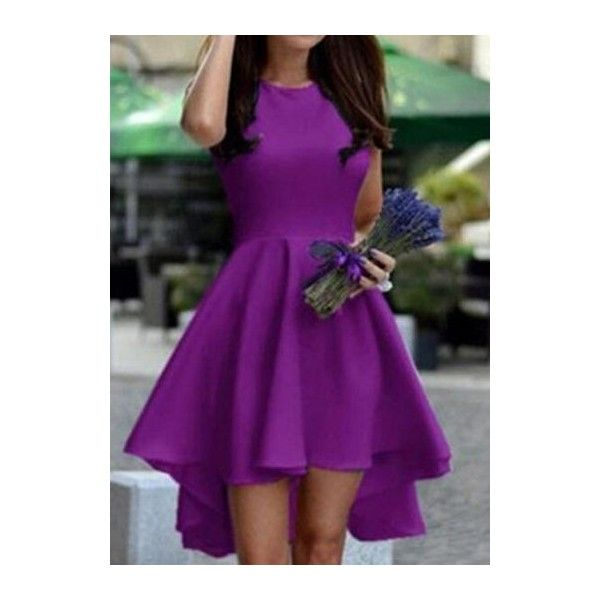 Solid Purple Sleeveless High Low Dress ($19) ❤ liked on Polyvore featuring dresses, purple, short sleeve mini dress, short-sleeve dresses, purple print dress, spandex dress and high low dresses