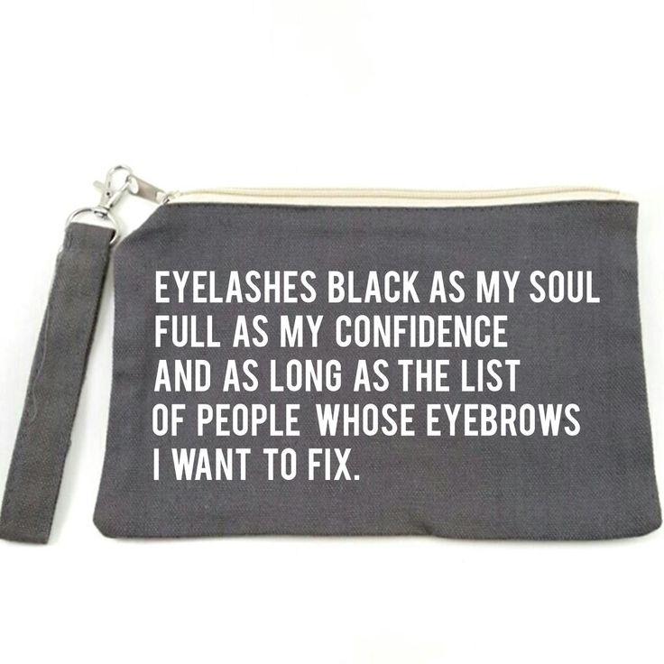 Eyelashes Black As My Soul Canvas Makeup Bag