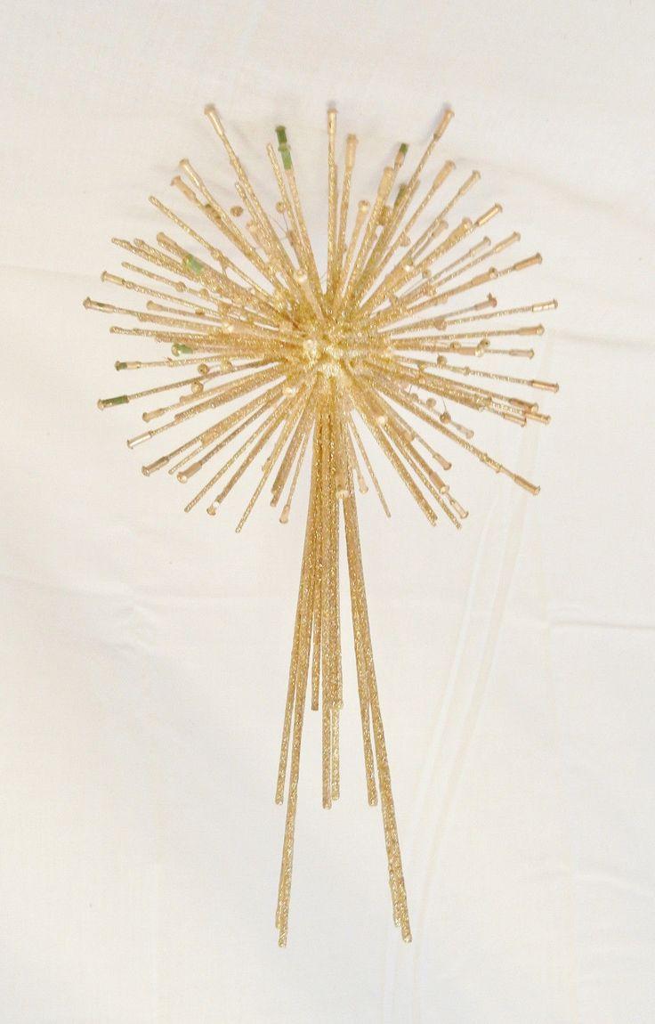 Sputnik christmas ornaments - Vtg Mid Century Modern Christmas Tree Topper Star Atomic Sputnik Era