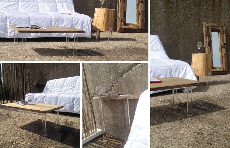 PLEXI collection; Impression de bois qui flotte! Fourniture en bois flotté Pür cachet #table #wood #bois #design Cliquez ici pour voir les options de table disponible: http://www.purcachet.com/index.php/vente-en-ligne-table