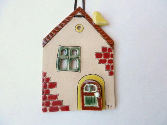 Ceramic house wall hanging, ceramic house wall art fairy house miniature houses,pottery house,house ornament,handmade ceramics and pottery