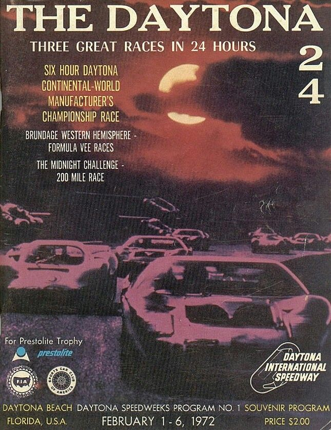 The 1972 Daytona 24 featured 3 races in 24 hours due to the energy crisis. The 24 hour race was shortened to 6 hours, and an energy saving Formula V race was added to to unique format.
