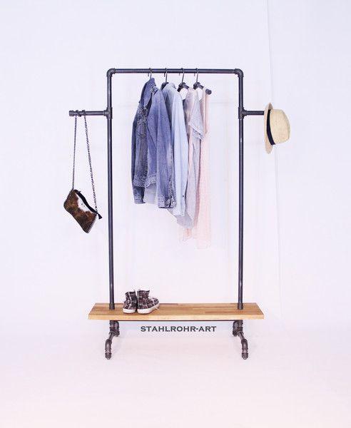 Kleiderstange Garderobe Vintage Industry Eiche  von stahlrohr-art auf DaWanda.com