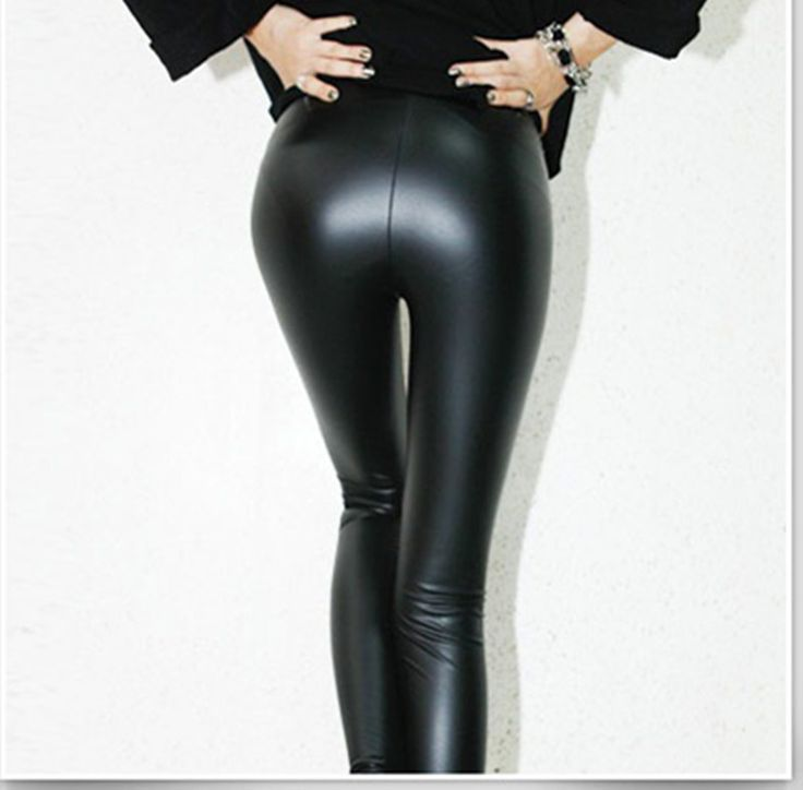 Elastic PU leather black women leggings fashion slim bodycon leggings pants pencil pants trousers jambieres femmes