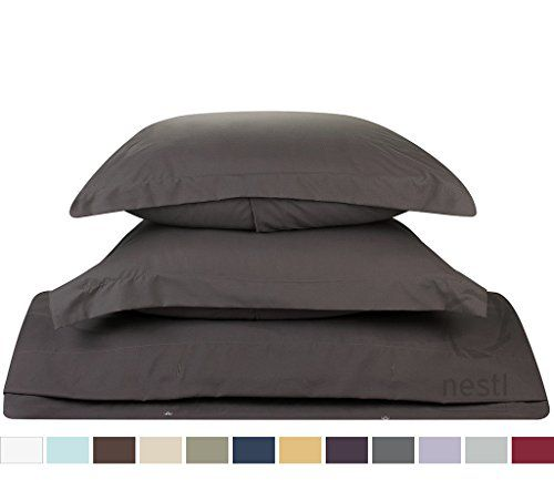 Duvet Cover for a Duvet Insert Comforter, King Size, Gray Charcoal Solid Color, 100% Double Brushed Microfiber Fabric 1800 Series Luxury Bedding Collection, Hypoallergenic, Most Cozy Comfortable Bedroom Set on Amazon, Basic 3-Piece Set Includes Silky Soft Duvet Cover with Pillow Shams, Supreme Quality Bed Linen Sale by Nestl Bedding