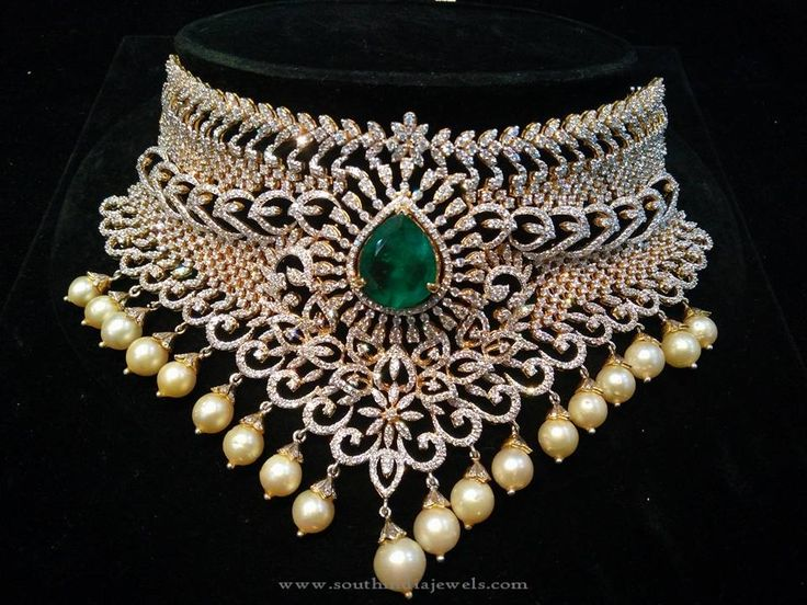 South Indian Diamond Jewellery Designs, South Indian Diamond Necklace Models, South Indian Diamond Choker Designs.