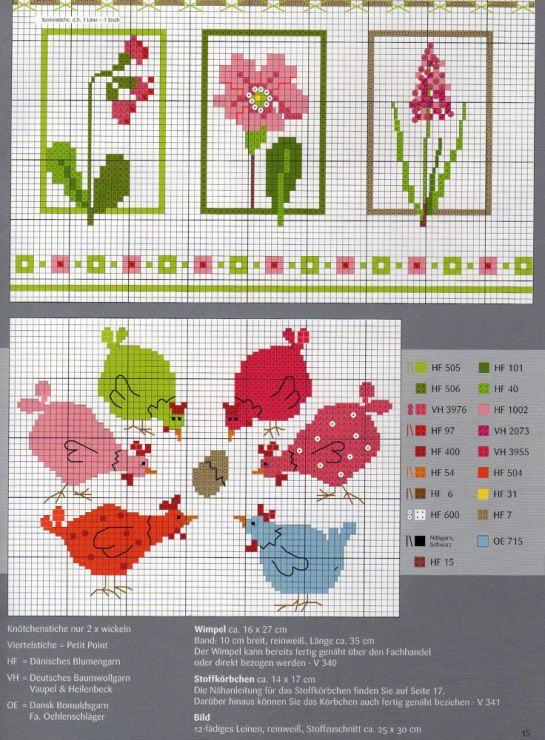 Cross Stitching Pattern Freebie Spring Summer Chicken / Kreuzstich Vorlage Sommer Frühling Huhn Hühner