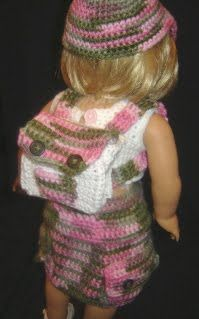 """Cargo Skirt Outfit w/Backpack- 18"""" Doll pattern.  This site has several crochet patterns for American Girl but could be used for other dolls."""
