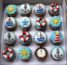 Nautical cupcakes for a sailing theme