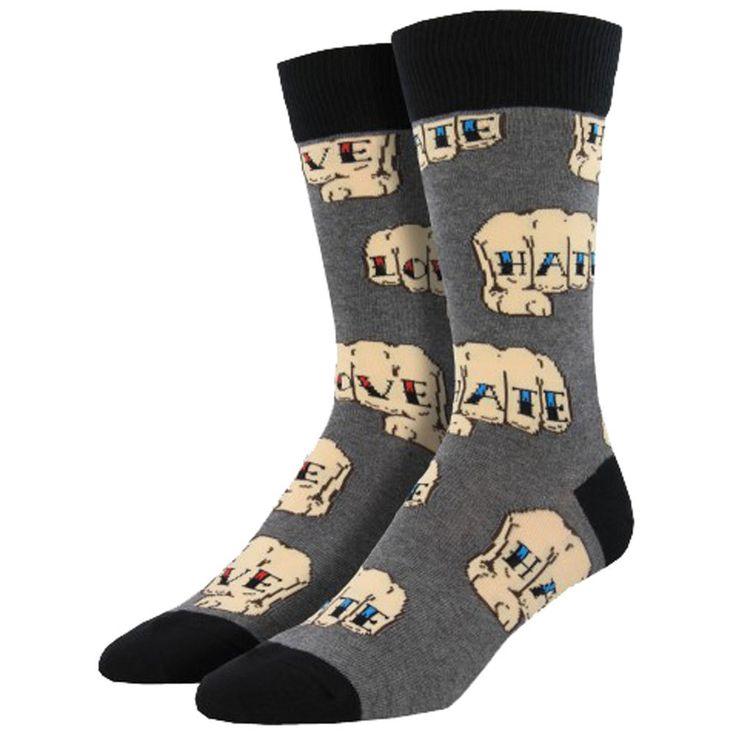 Purple Leopard Boutique - Men's Crew Socks Love Hate Tattooed Hand Gray, $13.50 (http://www.purpleleopardboutique.com/mens-crew-socks-love-hate-tattooed-hand-gray/)