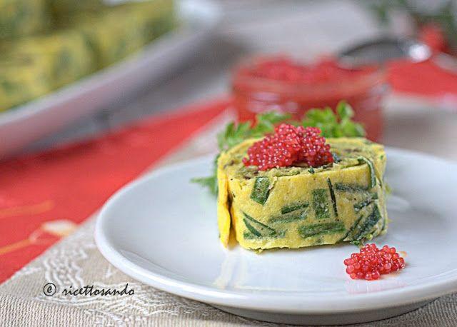 Girelle alla crema di piselli con uova di lompo e patè d'olive
