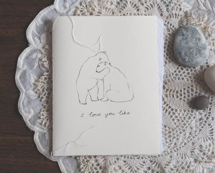 Polar bear love card #christmascard #card #greetingcard #polarbears #hug #cottonpaper #paper #love #gift #precious
