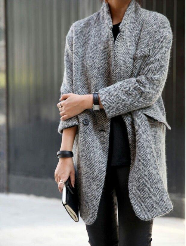Manteau gris + slim noir