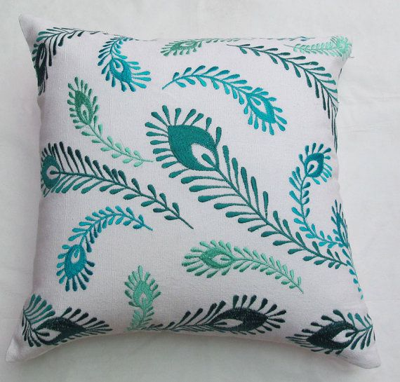 white and blue peacock feather throw pillow by Comfyheavenpillows, $26.99