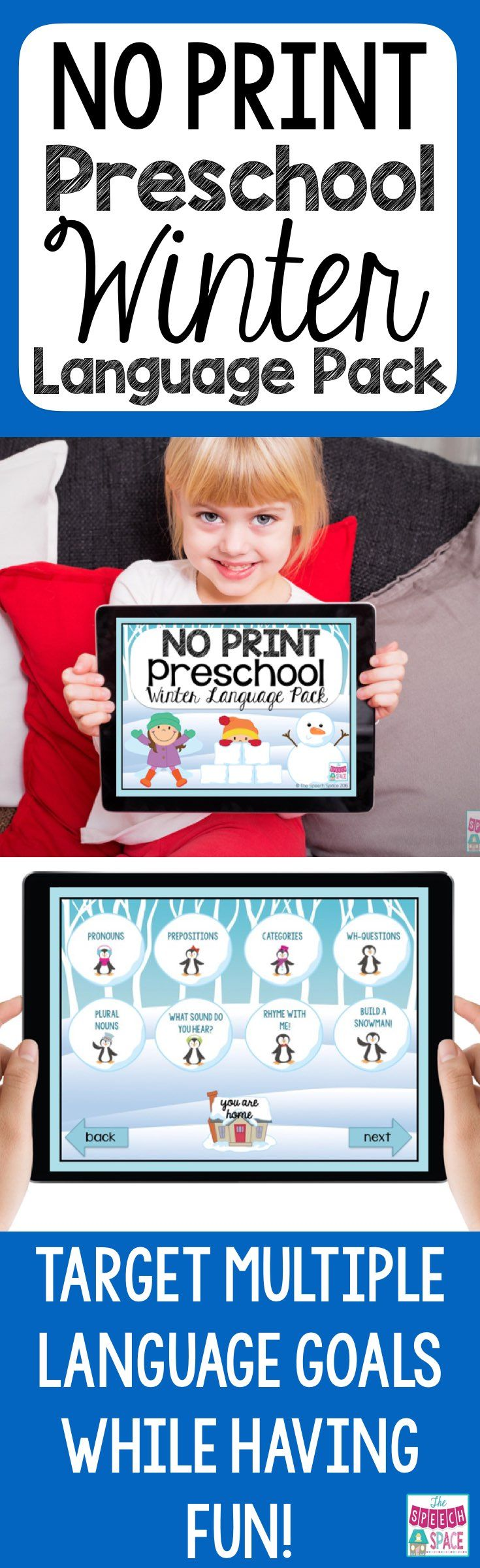 If you are a busy speech therapist that wants engaging speech therapy materials, but doesn't have time to prep, then this winter no print is for you!  It targets multiple language goals and is perfect for your PreK-1st students.