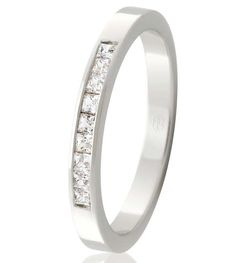 LADIES  WEDDING RING, 3mm WIDE , SET WITH 9 X .03PT PRINCESS CUT DIAMONDS IN A CHANNEL SETTING,