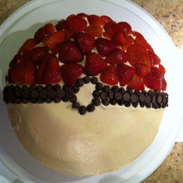 Cool idea for Pokemon cake. Instead of chocolate I will do black berries for Wyatt.