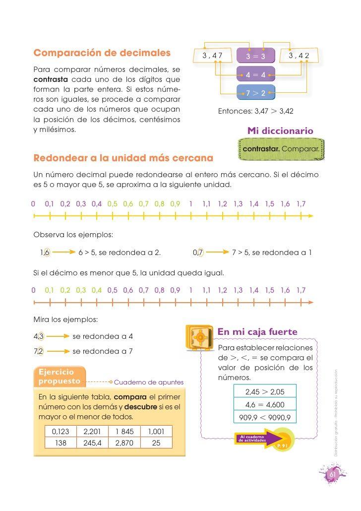 Comparación de decimales                              3,47        3=3                   3,42Para comparar números decimale...