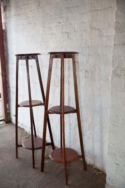 #SOLD! NorthcliffAntiques Two tall teak pot stands with a natural finish. #Johannesburg #Longstreet #Kitchenfurniture