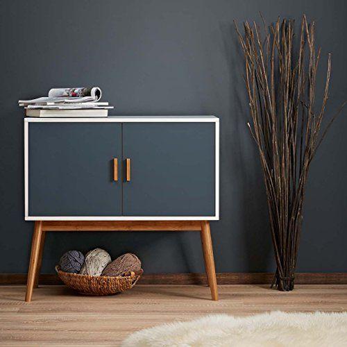 LOMOS Cómoda de madera en blanco y dos puertas en moderno tono gris…