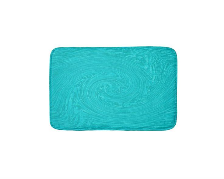 Turquoise Blue Swirl Bath Mat  #zazzle #bathmats #bathroom #turquoise #blue