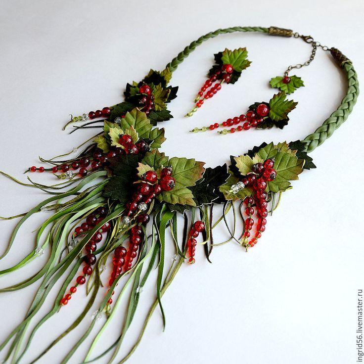 Купить Колье ожерелье из кожи и замши Красная смородина - украшения из кожи, смородина, красная смородина