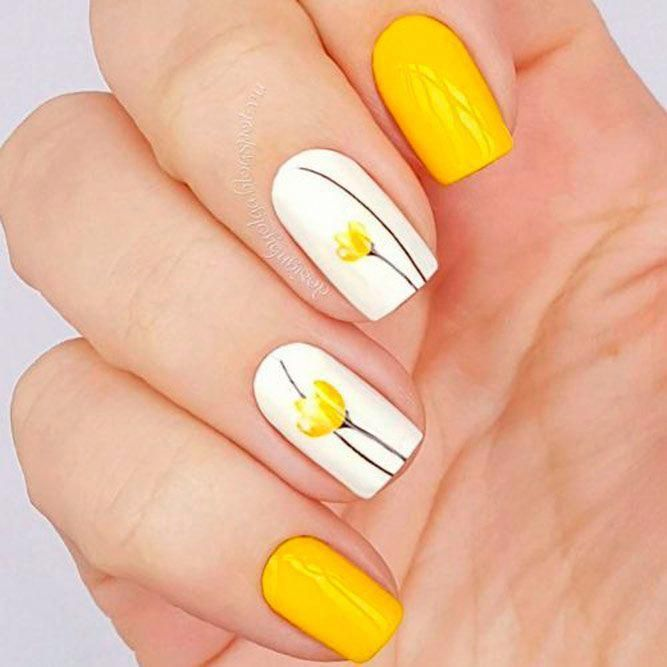 Yellow Tulips Nail Art #yellownails #flowersnails ☆ Schauen Sie sich diese einfachen, ... | Nail designs spring, Trendy nail design, Tulip nails