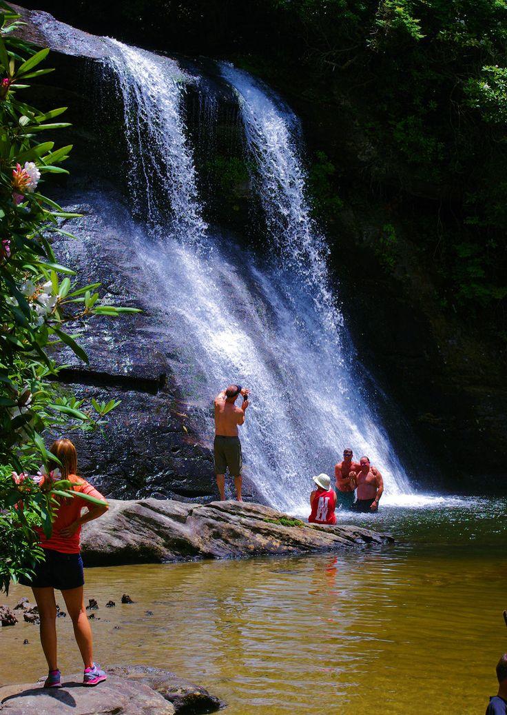 Silver Run Falls, Nantahala National Forest swimming hole in the North Carolina mountains