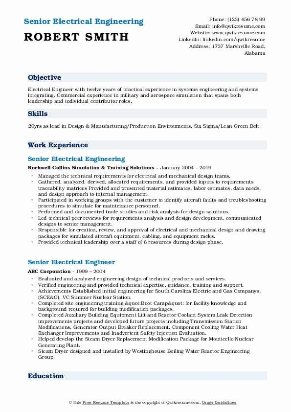 Electrical Engineering Resume Objective Unique Senior Electrical Engineer Resume Samples Relationship Management Engineering Resume Job Resume Samples