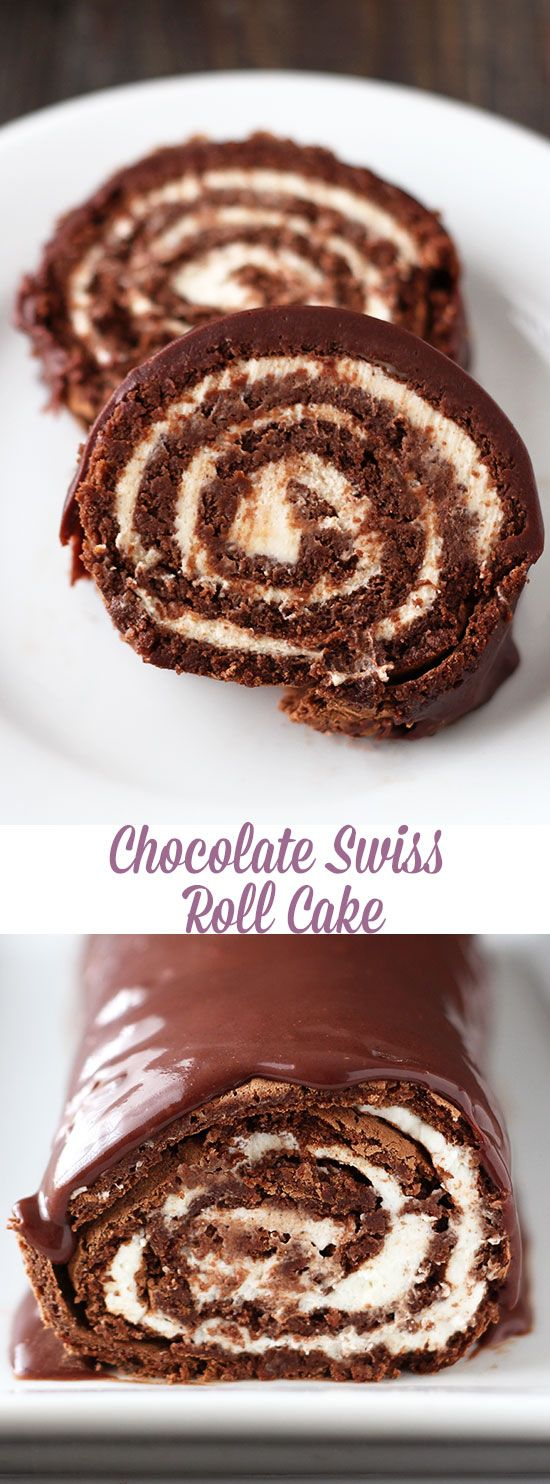 Chocolate Swiss Roll Cake - WOW. How impressive is this cake? It tastes even…
