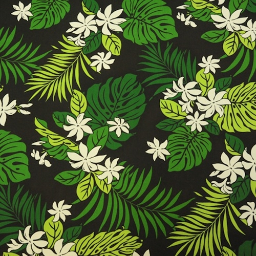 Fabric store hawaiian poly cotton print ml216310 black green white