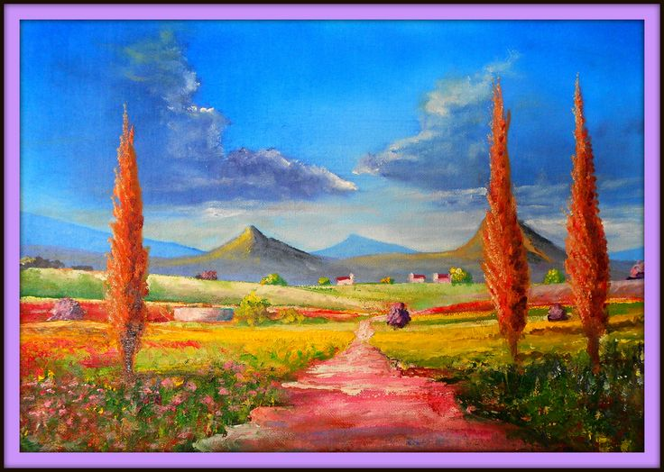 Cape fields. Painted on 30/8/2013. My attempt of bright and cheerful painting. Size 410 mm x 600 mm. for Sale $ 35