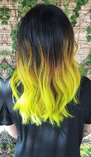 Neon green ombre dyed hair color @hairbyalexandrea