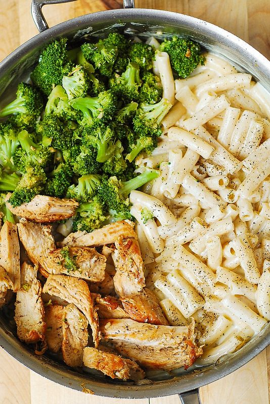 Chicken Broccoli Alfredo-not low cal because it uses heavy cream