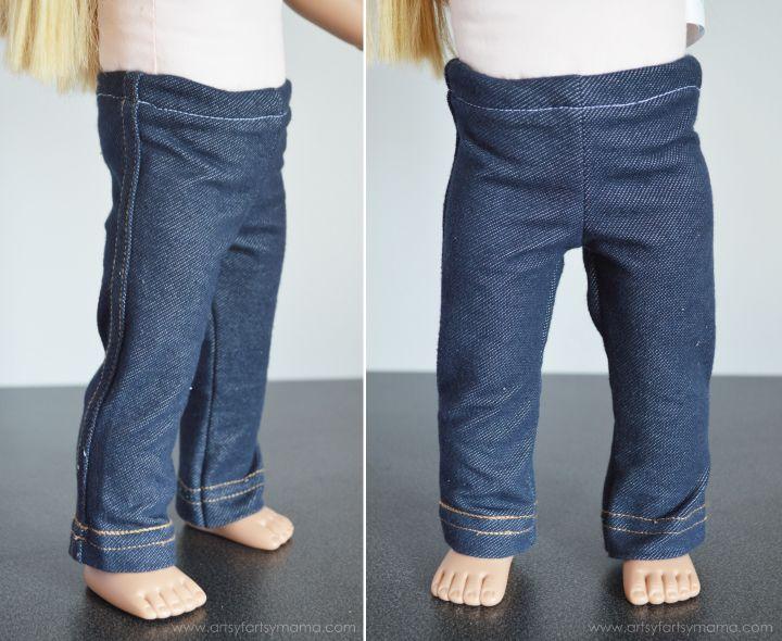 Easy Leggings for 18 Inch or American Girl Dolls with Free Printable Pattern at artsyfartsymama.com