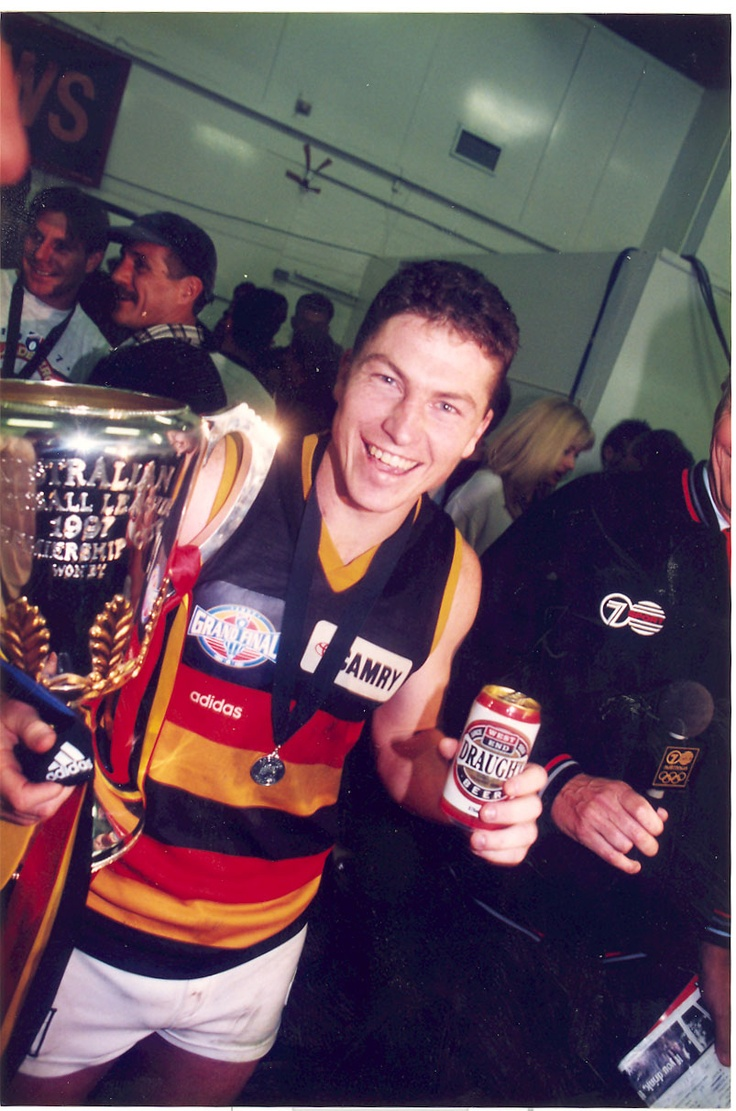 Mark Bickley with the premiership cup