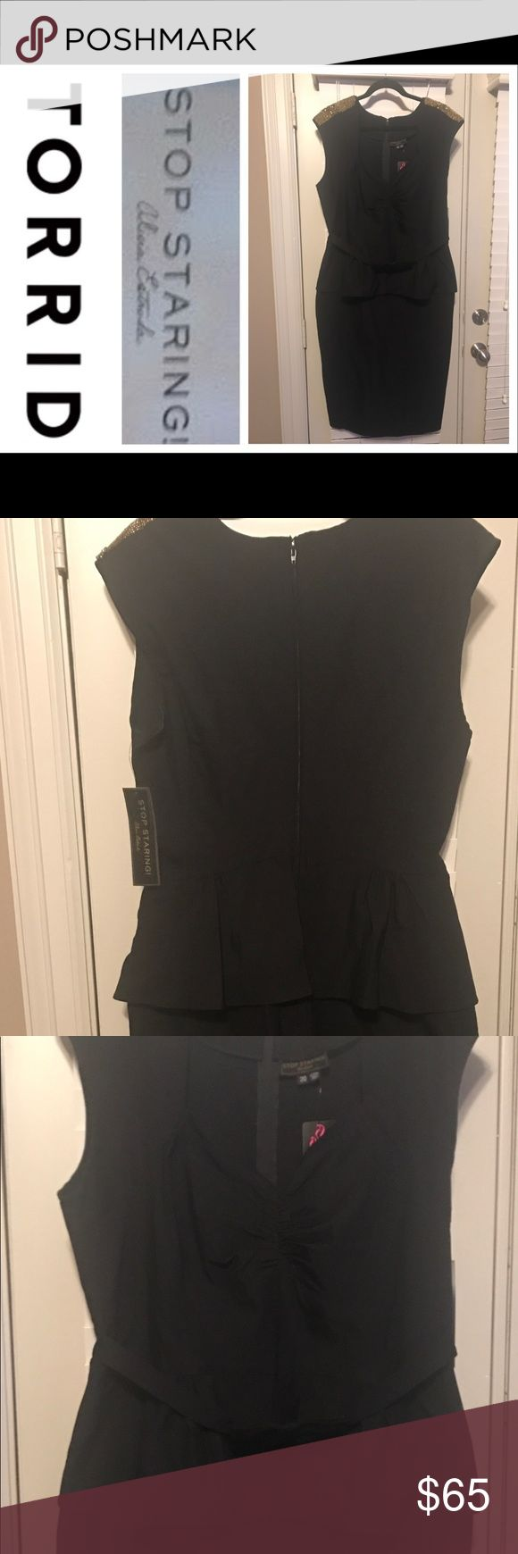 Torrid/Alias Estrada NWT Beaded Peplum Dress NWT! Torrid/Alias Estrada black Peplum dress with gold beaded shoulders. This dress is hot!!! The top has somewhat of a sweetheart cut with a Peplum waist and bow. Zipper on back. Torrid size 20! It has some stretch to it if needed! torrid Dresses Midi