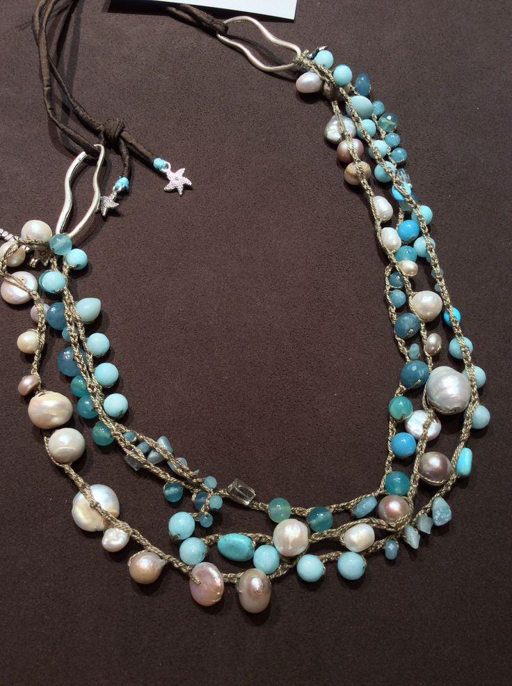 Collana perle, opale andino, turchese e calcedonio