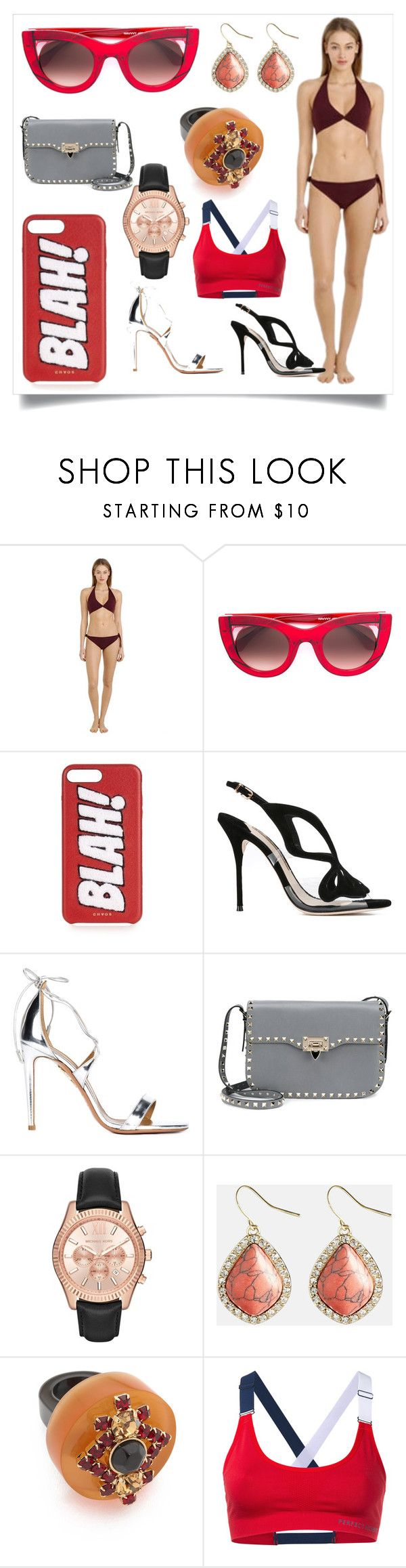 """""""Beach wear"""" by denisee-denisee ❤ liked on Polyvore featuring Isole & Vulcani, Thierry Lasry, Chaos, Sophia Webster, Aquazzura, Valentino, MICHAEL Michael Kors, Avenue, Marni and Perfect Moment"""