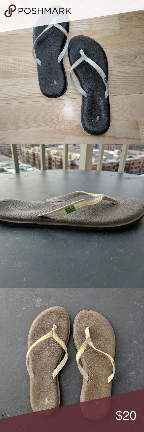 Sanuk Women?s Yoga Spree 2 Flip Flop,Brown Super-soft! Made from recycled yoga mats, these Sanuk flip flops will be your favorites! Sole is brown with cream canvas/cotton thong, which doesn't pull over give you blisters. Love these but can't wear flip flops anymore. Sanuk Shoes Sandals